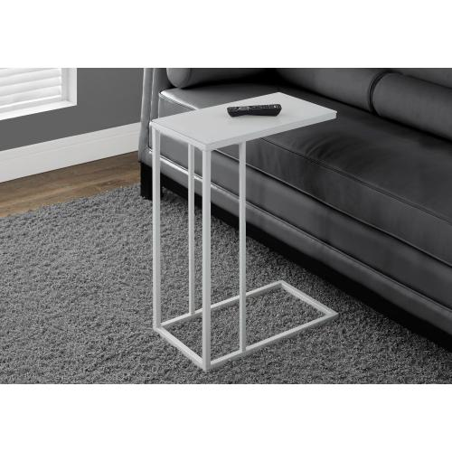 Gallery - ACCENT TABLE - WHITE METAL WITH FROSTED TEMPERED GLASS