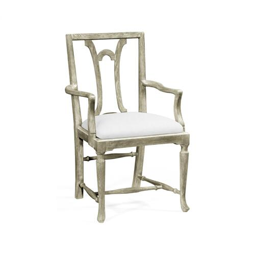 Lewellen Grey Oak Arm Chair, Upholstered in COM