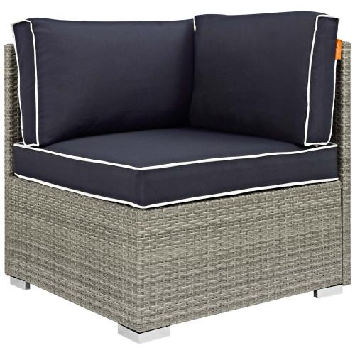 Repose 6 Piece Outdoor Patio Sectional Set in Light Gray Navy