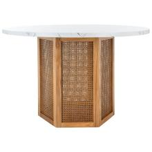 See Details - Danez Cane Dining Table - Faux White & Black Marble Top / Natural Base