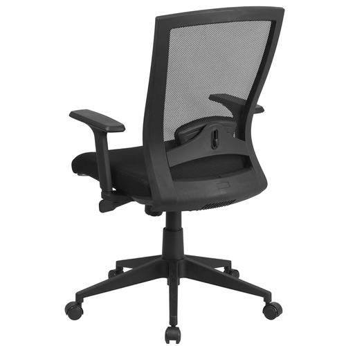 Flash Furniture - Mid-Back Black Mesh Executive Swivel Ergonomic Office Chair with Back Angle Adjustment and Adjustable Arms
