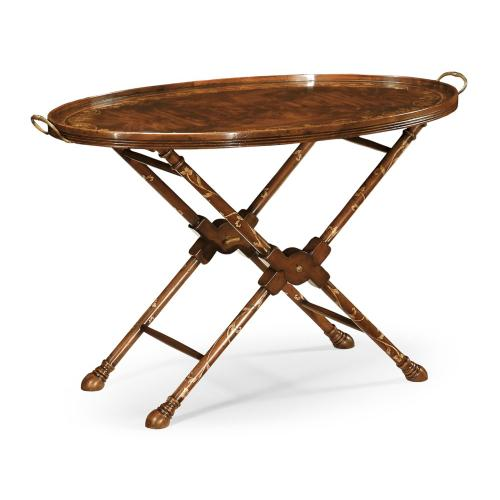 Oval Mahogany Tray On Stand with Floral Inlay