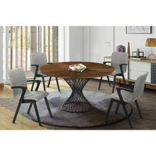 Cirque and Varde 5 Piece Walnut Round Dining Set
