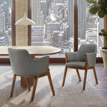 View Product - Renzo Charcoal Fabric and Walnut Wood Dining Side Chairs - Set of 2
