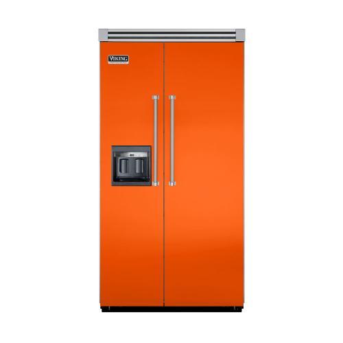"Viking - Pumpkin 42"" Side-by-Side Refrigerator/Freezer with Dispenser - VISB (Integrated Installation)"