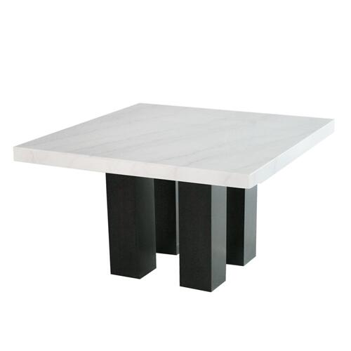 Camila 54 inch Square White Marble Top Dining Table