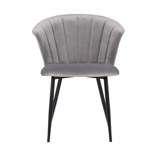Lulu Contemporary Dining Chair in Black Powder Coated Finish and Grey Velvet