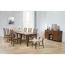 DLU-BR134-C85AMSB10P  10 Piece Rectangular Extendable Dining Set  4 Size Table  Upholstered Chair  Sideboard Buffet  Amish Brown
