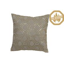 "66820085FR - LOSANGE Pillow Gold Metallic+White, Polyester Fill, 20""x20"""