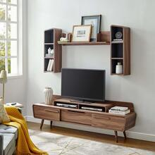Omnistand 2 Piece Entertainment Center in Walnut Gray
