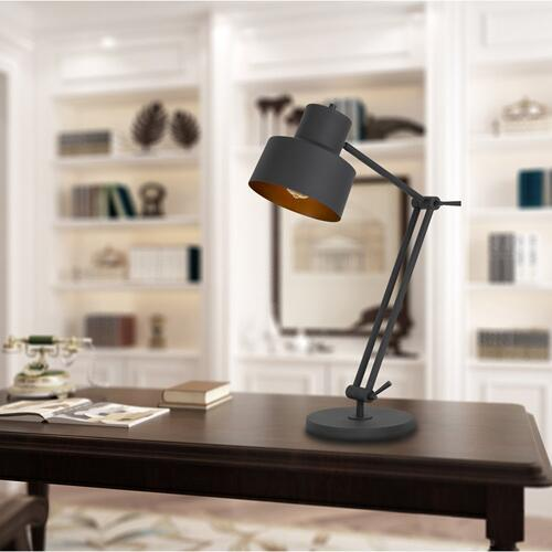60W Davidson metal desk lamp with weighted base, adjustable upper and lower arms. On off socket switch