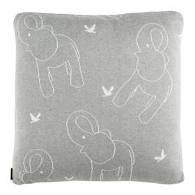 Ella Knit Pillow - Light Grey / Ivory