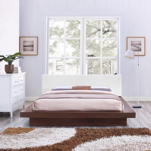 Freja Queen Vinyl Platform Bed in Walnut White