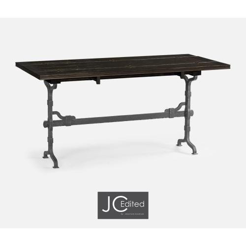 "63"" Rectangular Dark Ale & Iron Hunt Table"