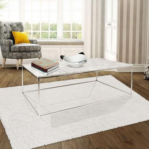 Grako Design - Faux Marble Finish Coffee Table MDF Chrome Base Modern Living Room Wholesale