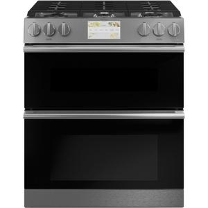 "Cafe Appliances30"" Smart Slide-In, Front-Control, Dual-Fuel, Double-Oven Range with Convection in Platinum Glass"
