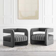 Range Tufted Performance Velvet Accent Armchair Set of 2 in Charcoal