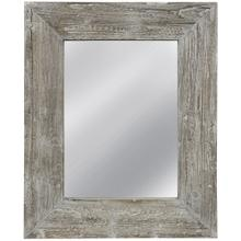 See Details - WASHED BARNWOOD MIRROR  32in w. X 39in ht. X 3in d.  Weather Wood Framed Wall Mirror