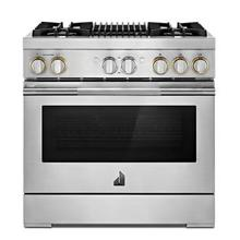 """See Details - RISE™ 36"""" Dual-Fuel Professional Range with Gas Grill"""