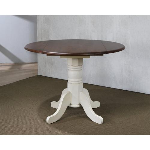 Round Drop Leaf Dining Set w/Napoleon Chairs - Antique White with Chestnut Top (3 Piece)