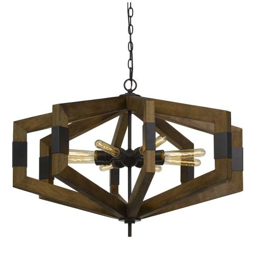 Varna 60W X 8 Pine Wood Chandelier (Edison Bulbs Not included)