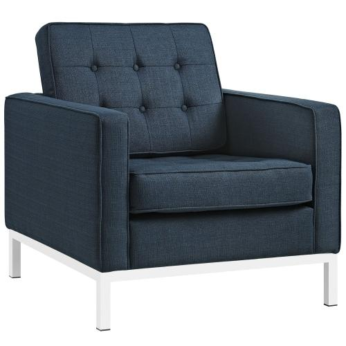 Loft 2 Piece Upholstered Fabric Sofa and Armchair Set in Azure