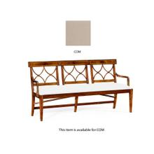 Three seater Regency walnut bench, upholstered in COM
