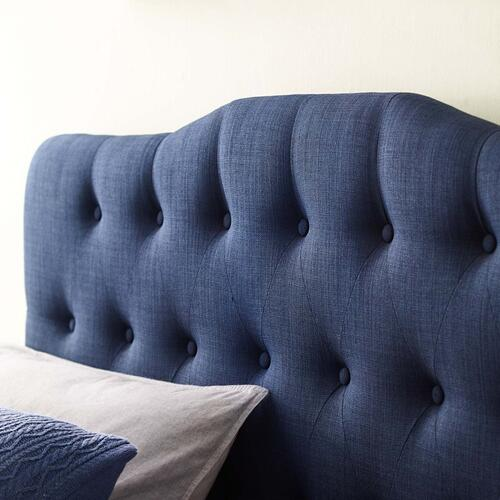 Annabel Queen Upholstered Fabric Headboard in Navy