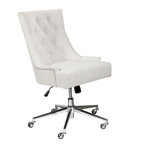Button Tufted Adjustable Upholstered Office Chair in Beige