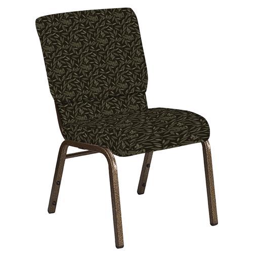 Flash Furniture - 18.5''W Church Chair in Jasmine Wintermoss Fabric - Gold Vein Frame