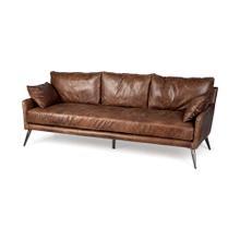 """Cochrane II 82"""" Brown Leather Three Seater Sofa"""