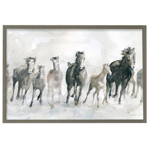 Style Craft - Band of Horses  Made in USA  Artist Print  Faux Wood Frame Under Glass  Attached Hanging Hardwar
