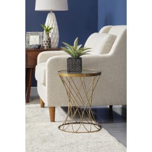 Wire Mesh Cylindrical Accent Table with Glass Top in Aged Gold