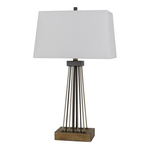 Basilica Metal/Wood Table Lamp With Taper Rectangular Linen Shade