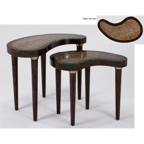 """Artmax - Nest Tables with Glass - Set of 2 30x18x26"""" & 25x13.5x22"""""""