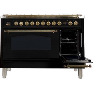 48 Inch Glossy Black Dual Fuel Liquid Propane Freestanding Range