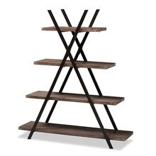 See Details - Baxton Studio Fiera Industrial Rustic Walnut Finished Wood and Black Metal 4-Tier Living Room Display Shelf