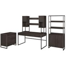 Atria 60W Writing Desk with Hutch, File Cabinet and Bookcase - Charcoal Gray