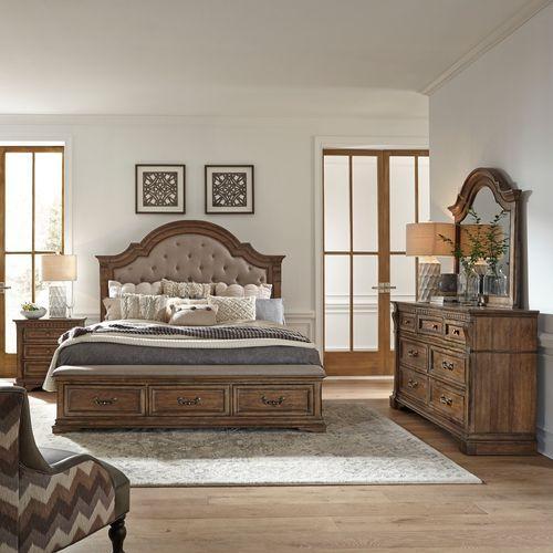 King Opt Storage Bed, Dresser & Mirror, Night Stand
