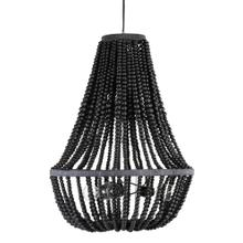 Juliet Collapsible Chandelier with Wooden Beads - Black (20x20x28.5)