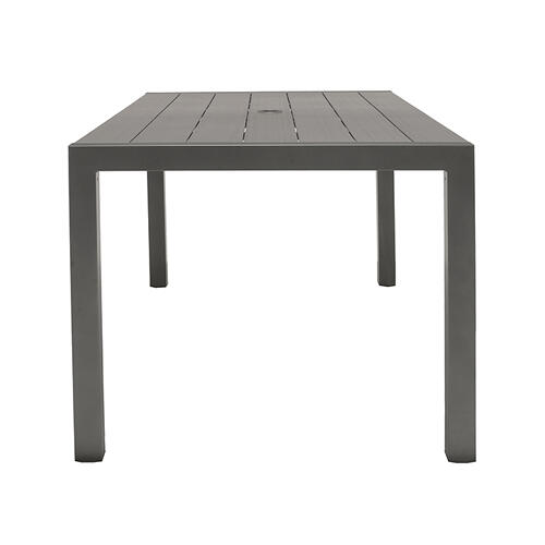 Solana Outdoor Rectangular Aluminum Dining Table in Cosmos Grey Finish with Wood Top