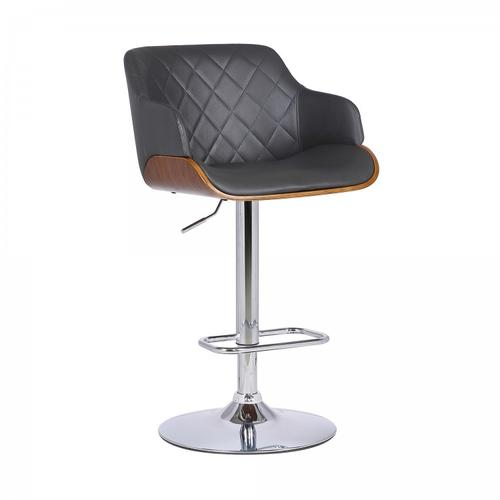 Toby Contemporary Adjustable Barstool in Chrome Finish with Grey Faux Leather and Walnut Finish