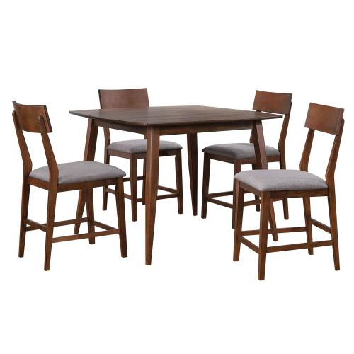 Pub Table Dining Set w/Padded Performance Fabric Chairs - Mid Century (5 Piece)