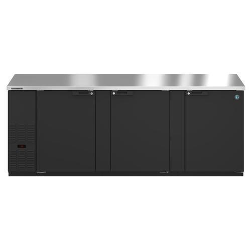 BB95, Refrigerator, Three Section, Black Vinyl Back Bar Back Bar, Solid Doors