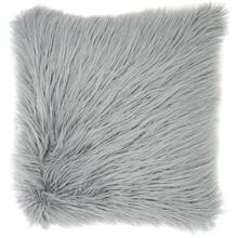 "Faux Fur Bj101 Light Grey 17"" X 17"" Throw Pillow"