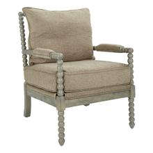 See Details - Abbott Spindle Chair In Dolphin Fabric With Brushed Grey Finish