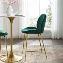 Scoop Gold Stainless Steel Leg Performance Velvet Counter Stool in Green