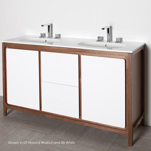 "Free-standing under-counter double vanity with 2 doors and 2 drawers . W: 55"", D: 17 5/8"", H: 34""."