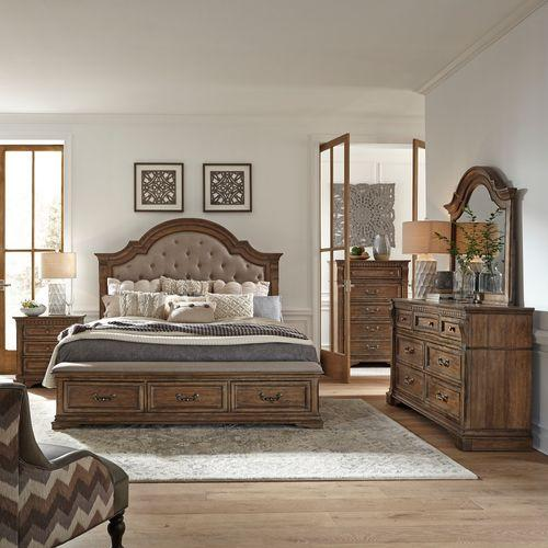Opt Queen Storage Bed, Dresser & Mirror, Chest, Night Stand