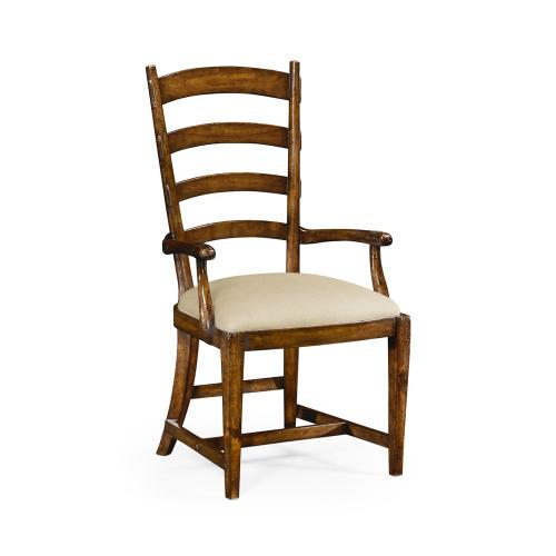 French Ladderback Style Carver Arm Chair, Upholstered in MAZO